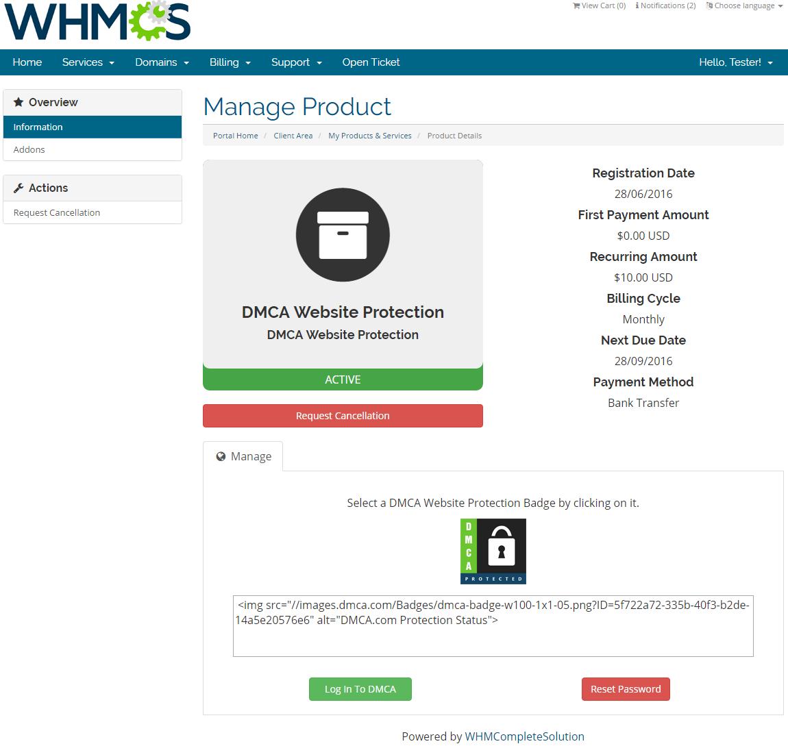 DMCA.com For WHMCS: Screen 3