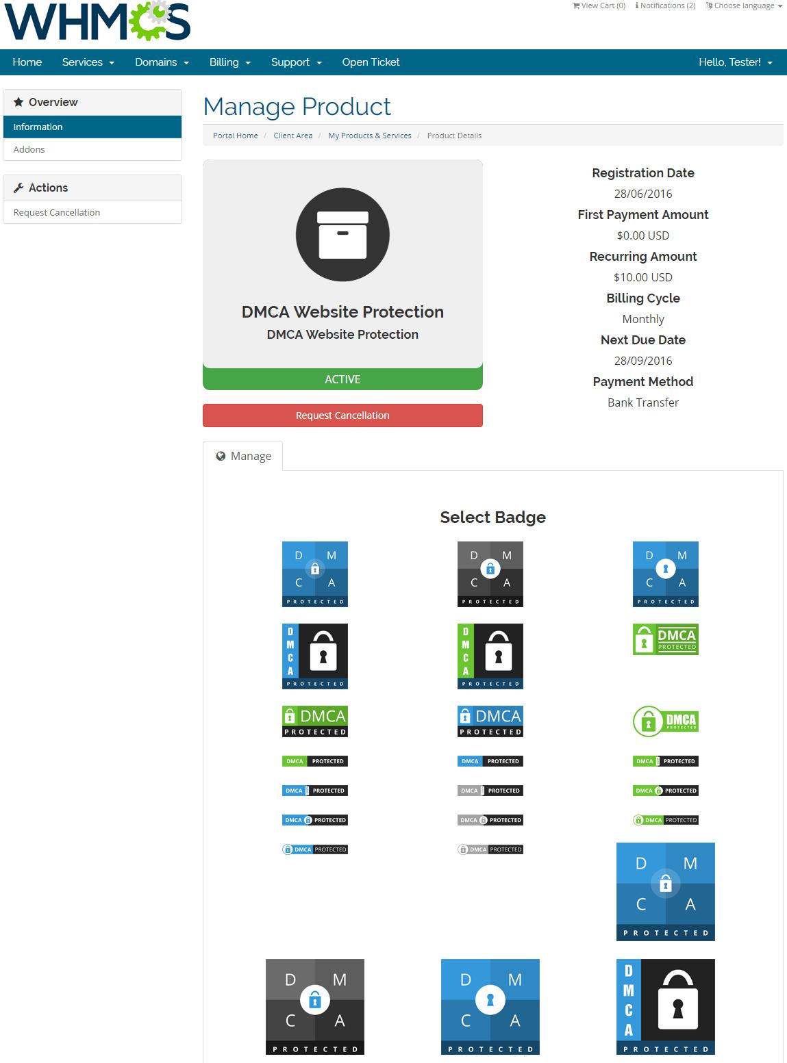 DMCA.com For WHMCS: Screen 4
