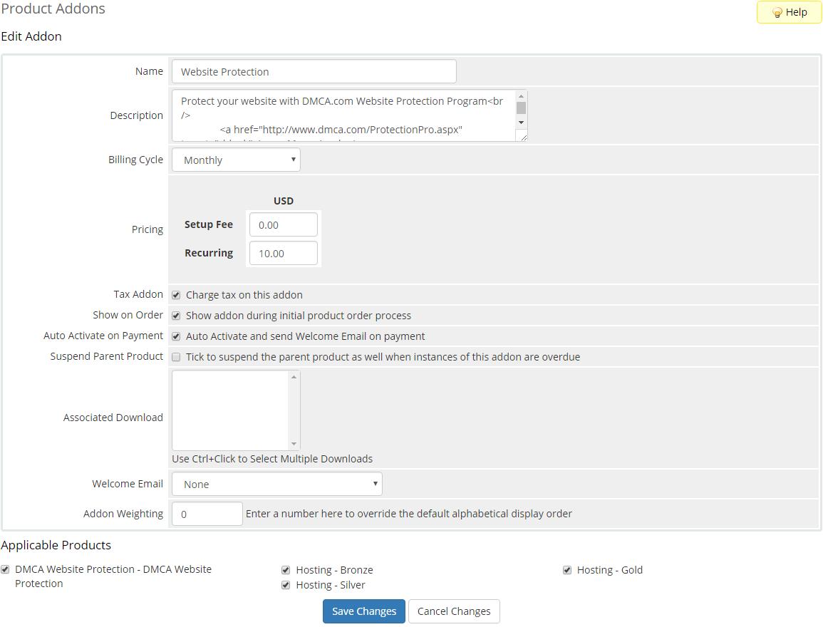 DMCA.com For WHMCS: Screen 6