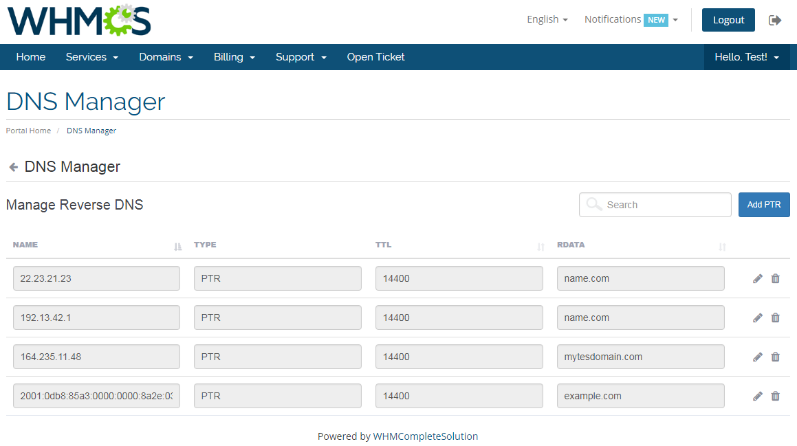 DNS Manager For WHMCS: Module Screenshot 4