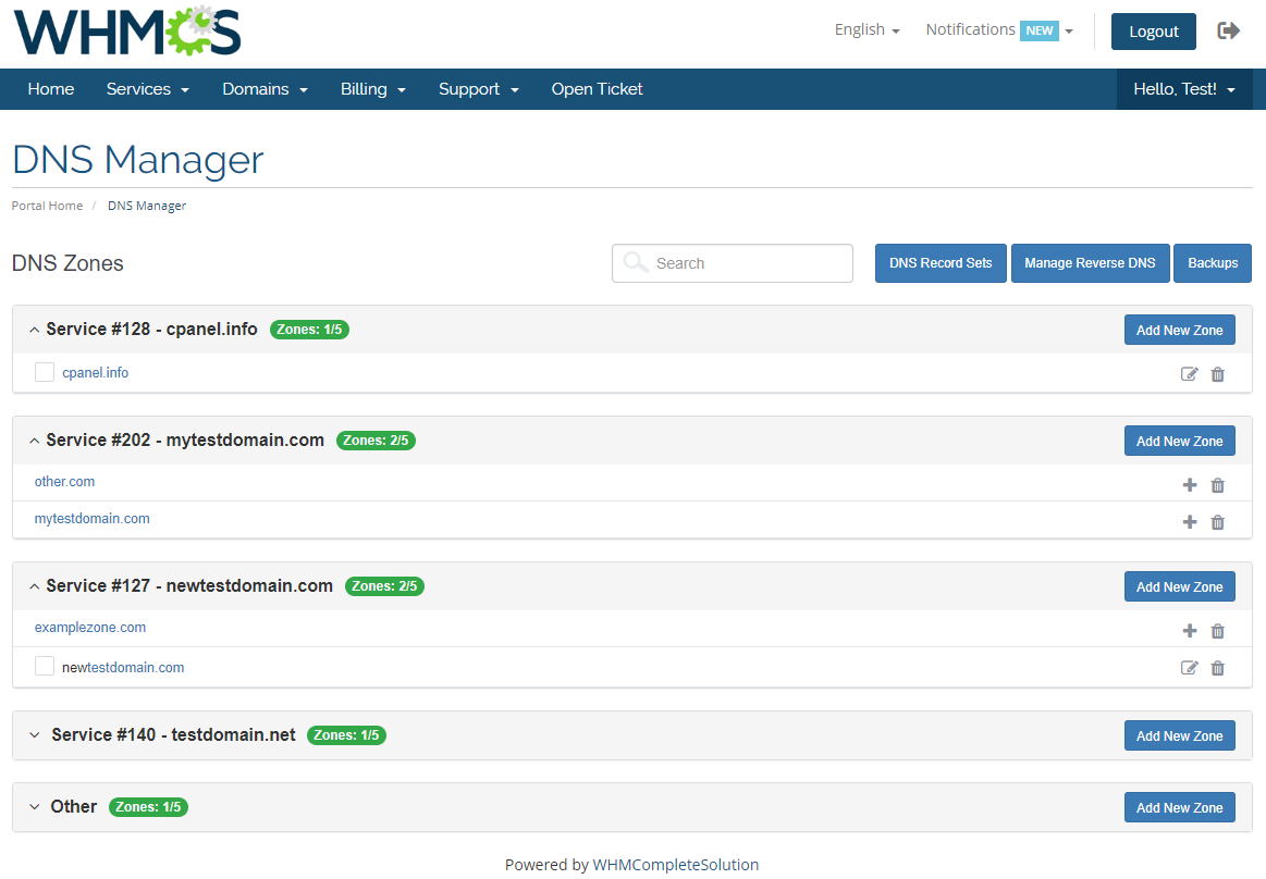 DNS Manager For WHMCS: Module Screenshot 1