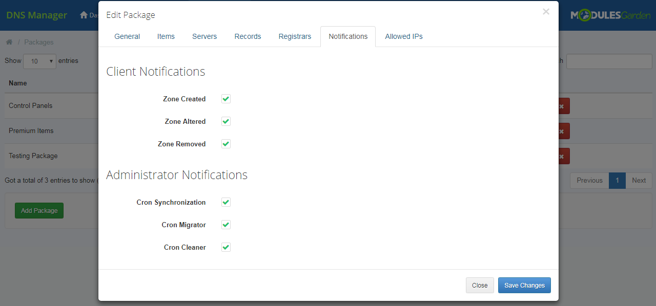 DNS Manager For WHMCS: Module Screenshot 24