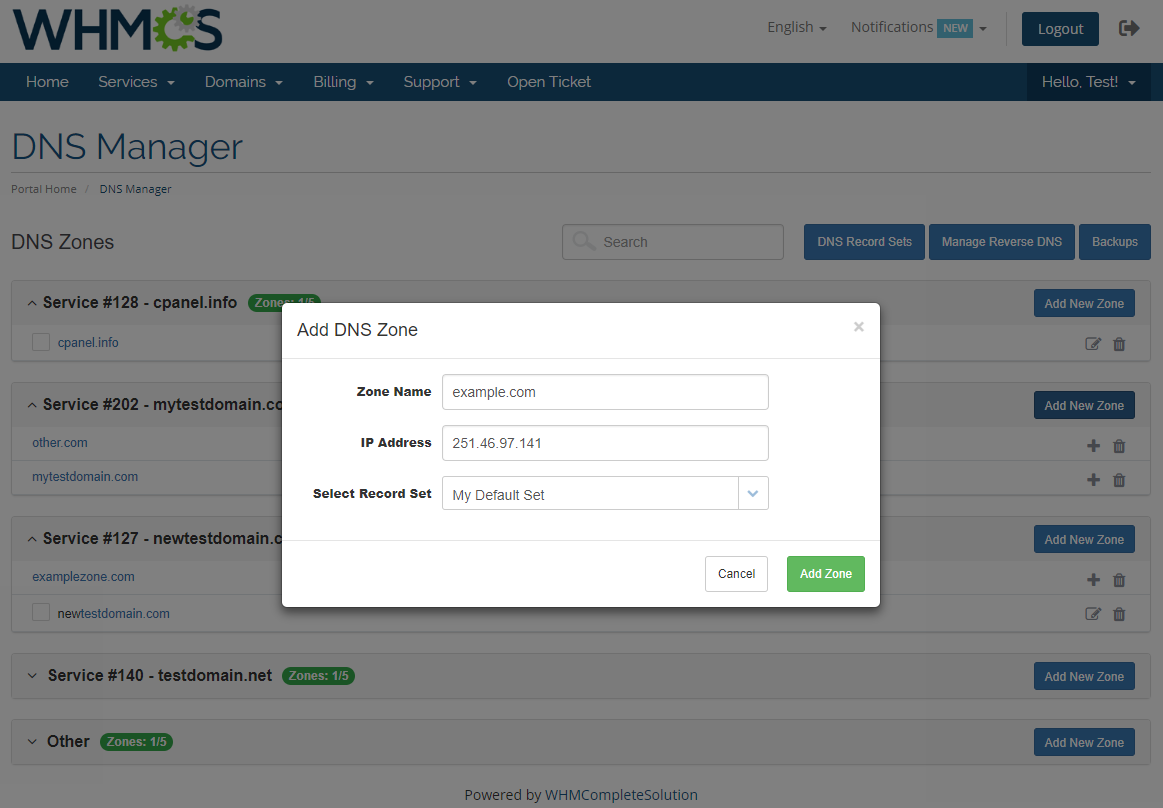 DNS Manager For WHMCS: Module Screenshot 2