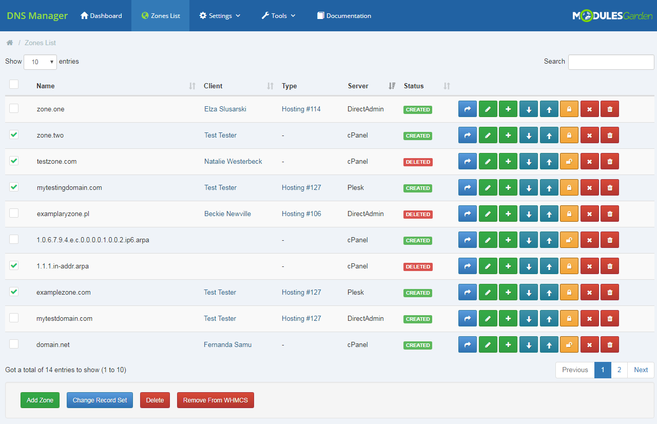 DNS Manager For WHMCS: Module Screenshot 11