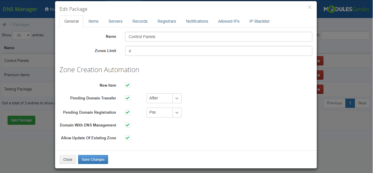 DNS Manager For WHMCS: Module Screenshot 19