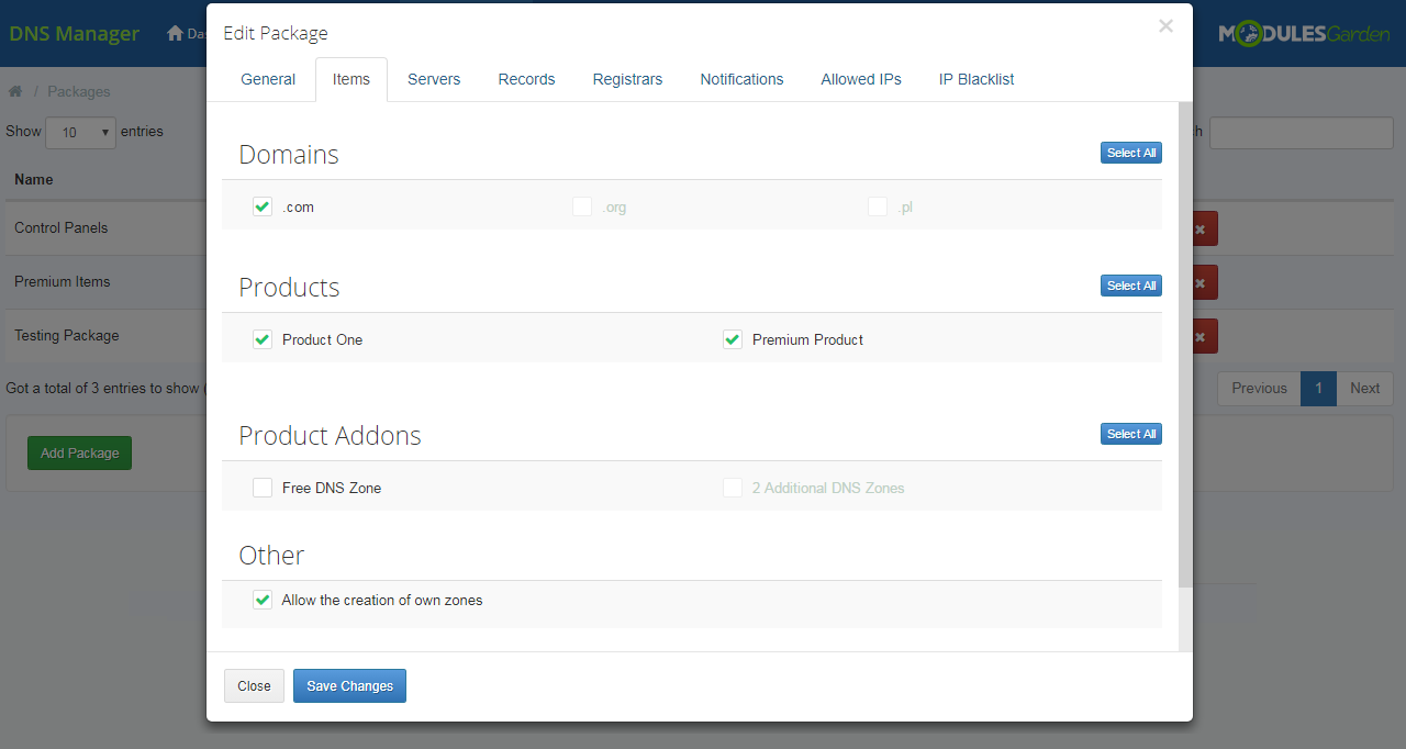 DNS Manager For WHMCS: Module Screenshot 20