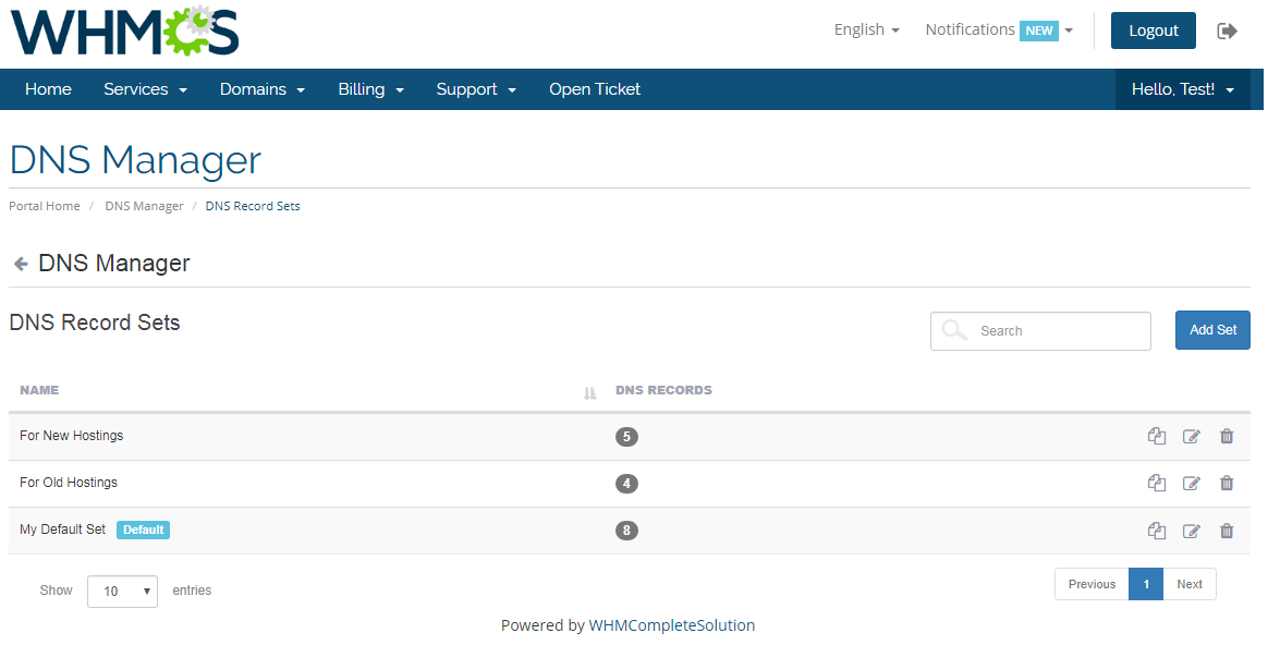 DNS Manager For WHMCS: Module Screenshot 5