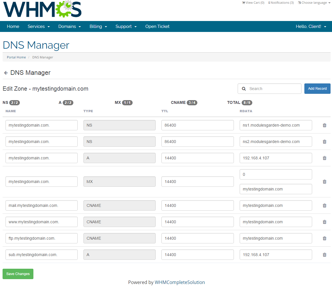 DNS Manager For WHMCS: Screen 4