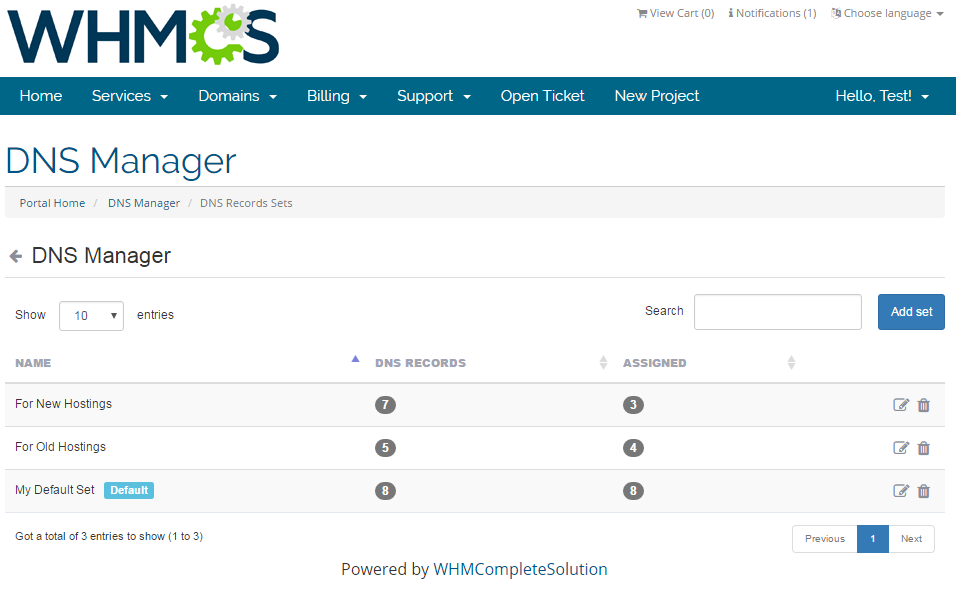DNS Manager For WHMCS: Screen 7