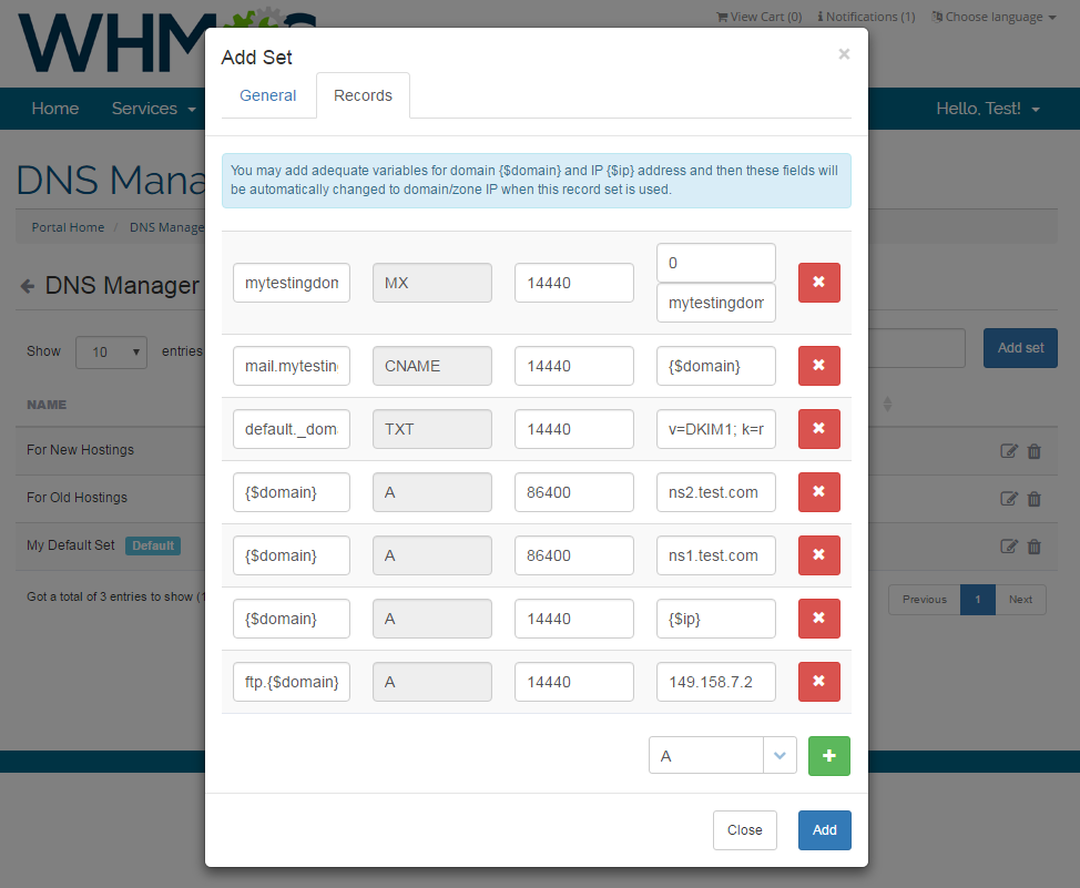DNS Manager For WHMCS: Screen 8