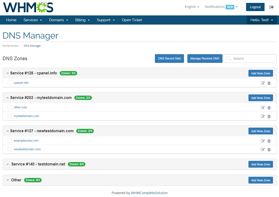 DNS Manager For WHMCS: Screen 1