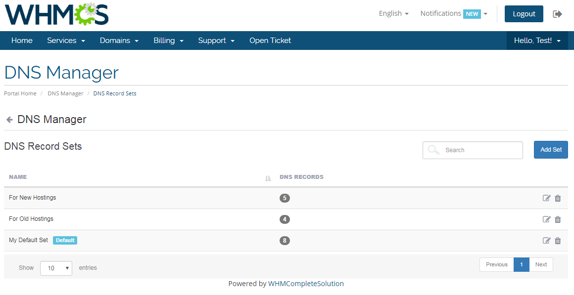 DNS Manager For WHMCS: Screen 5