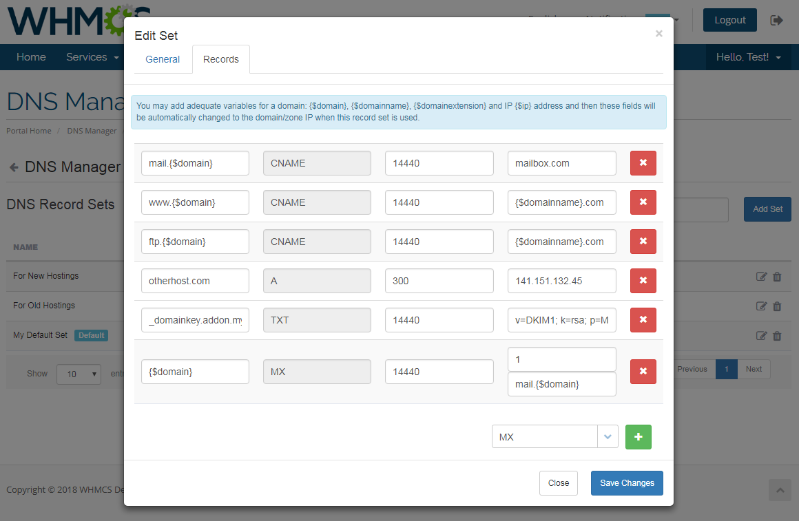 DNS Manager For WHMCS: Screen 6