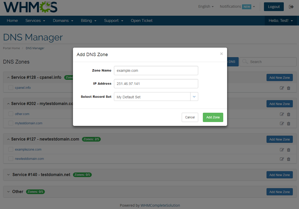 DNS Manager For WHMCS: Screen 2