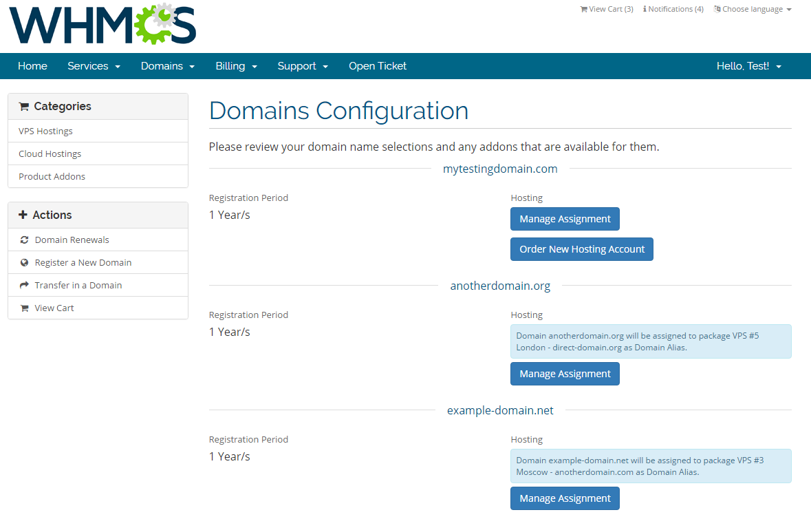 Domain Allocator For WHMCS: Screen 1