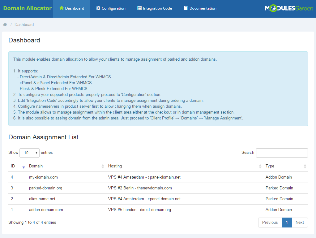 Domain Allocator For WHMCS: Screen 7