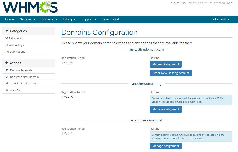 Domain Allocator For WHMCS: Screen 1