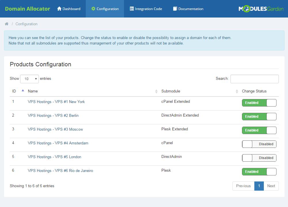Domain Allocator For WHMCS: Screen 8