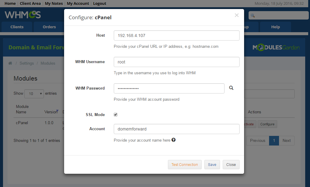Domain & Email Forwarding For WHMCS: Screen 10