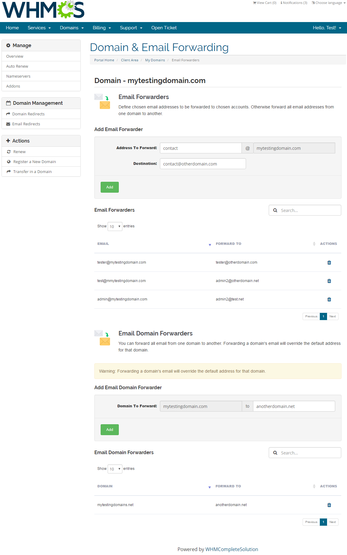 Domain & Email Forwarding For WHMCS: Screen 3