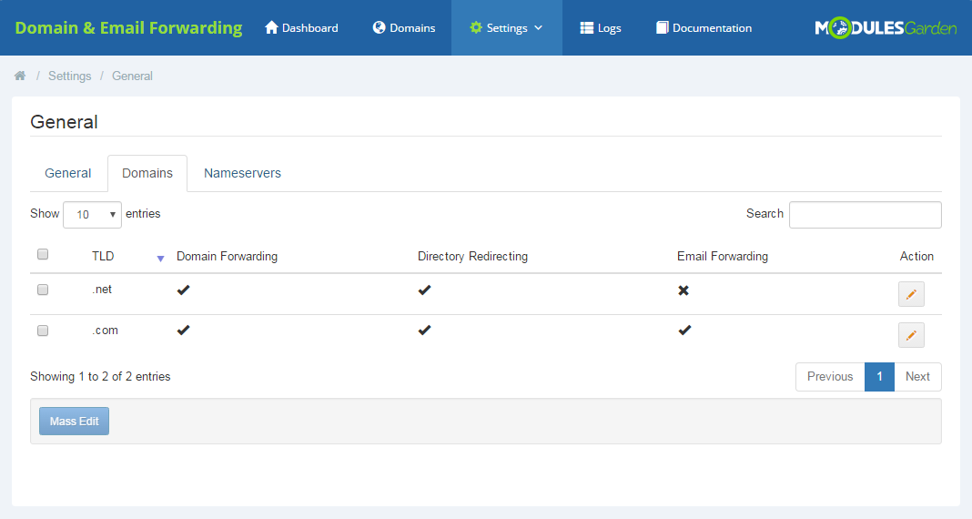 Domain & Email Forwarding For WHMCS: Screen 6