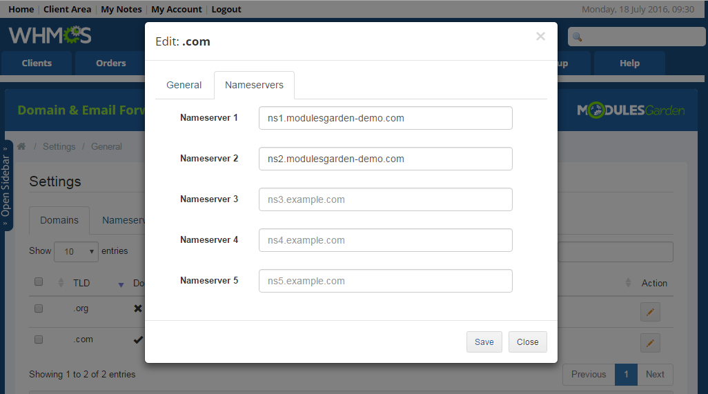 Domain & Email Forwarding For WHMCS: Screen 8