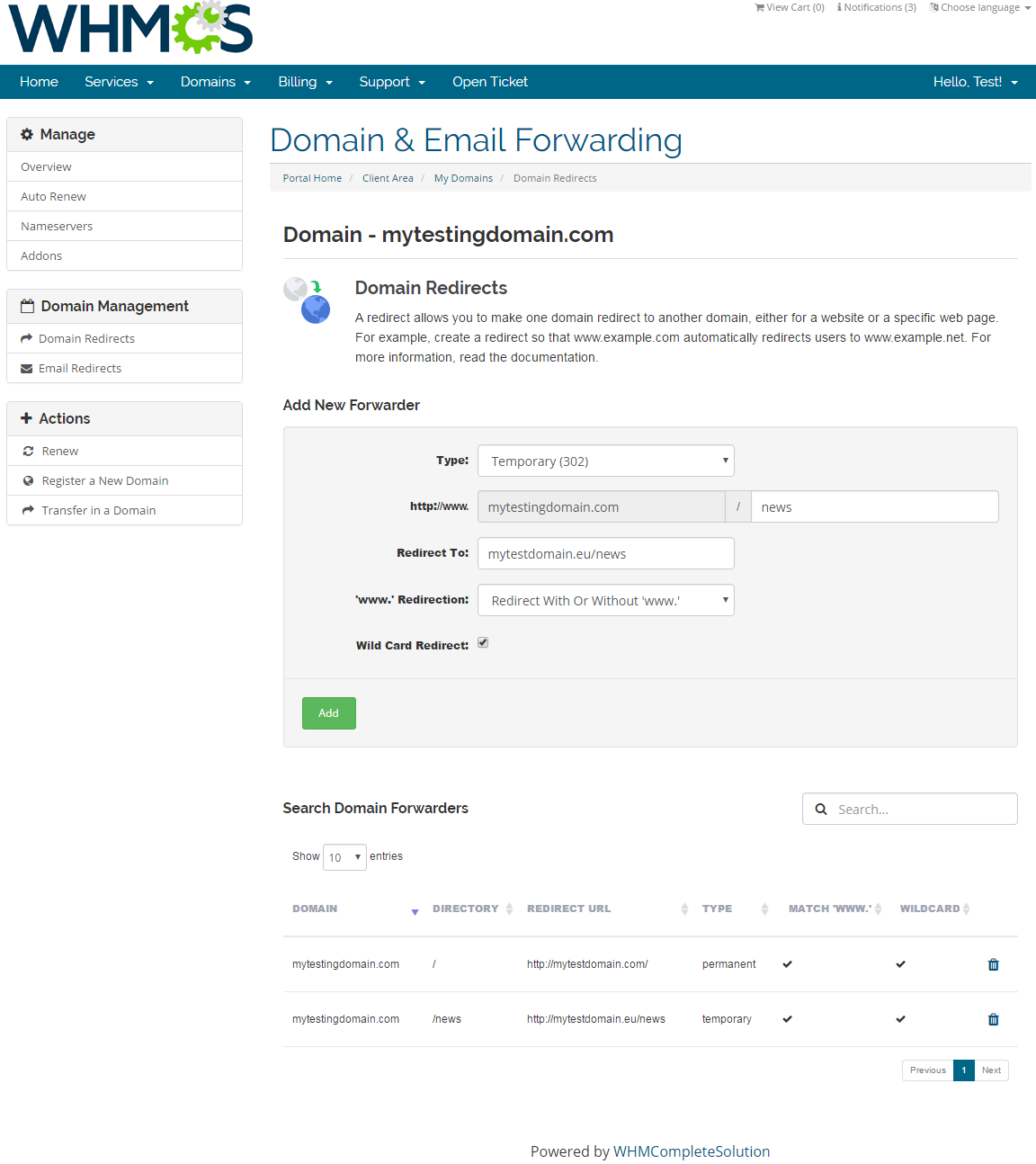 Domain & Email Forwarding For WHMCS: Screen 2