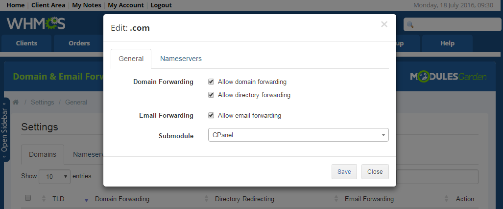 Domain & Email Forwarding For WHMCS: Screen 7