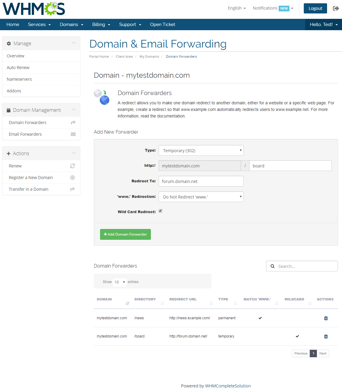 Domain & Email Forwarding For WHMCS: Screen 1