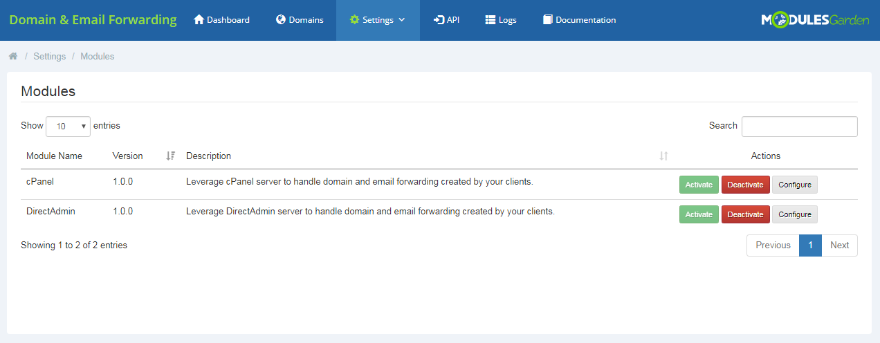Domain & Email Forwarding For WHMCS: Screen 9