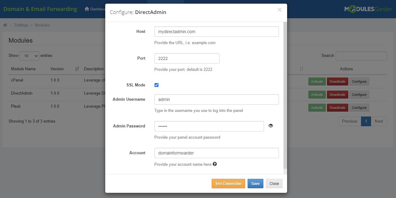 Domain & Email Forwarding For WHMCS: Module Screenshot 12
