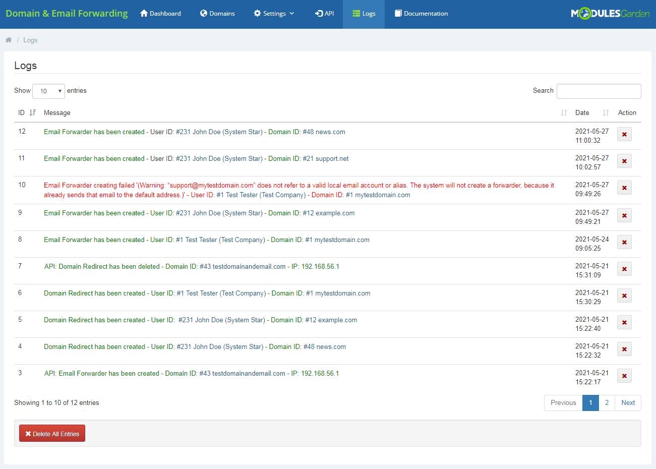 Domain & Email Forwarding For WHMCS: Module Screenshot 16