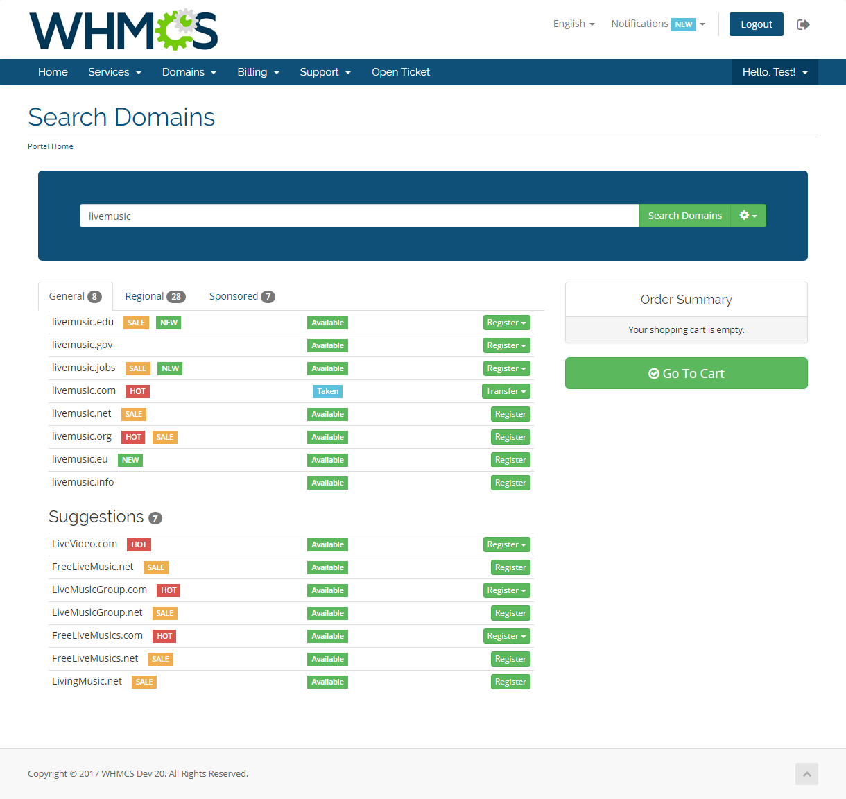 Domain Orders Extended For WHMCS: Screen 2