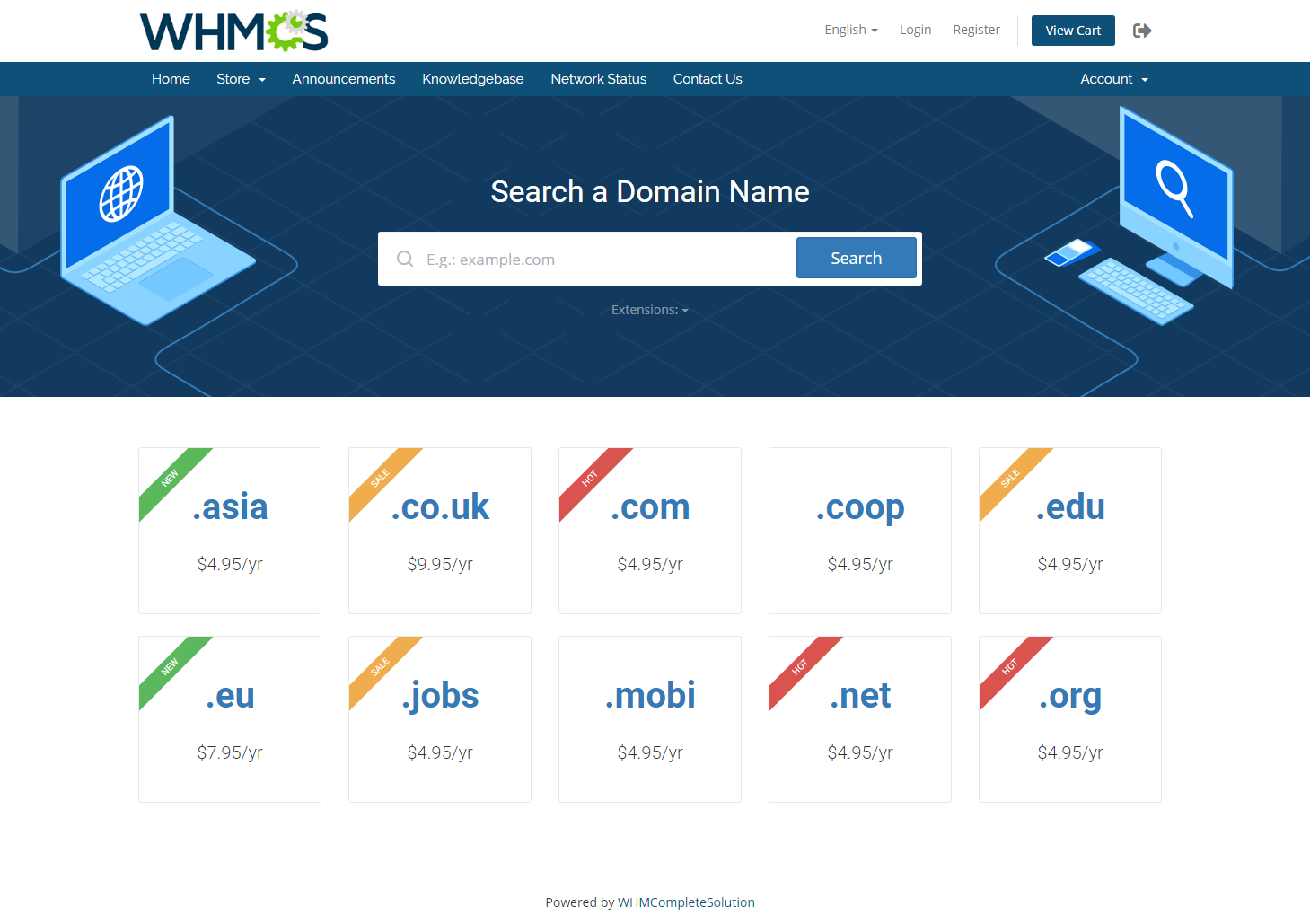 Domain Orders Extended For WHMCS: Screen 1
