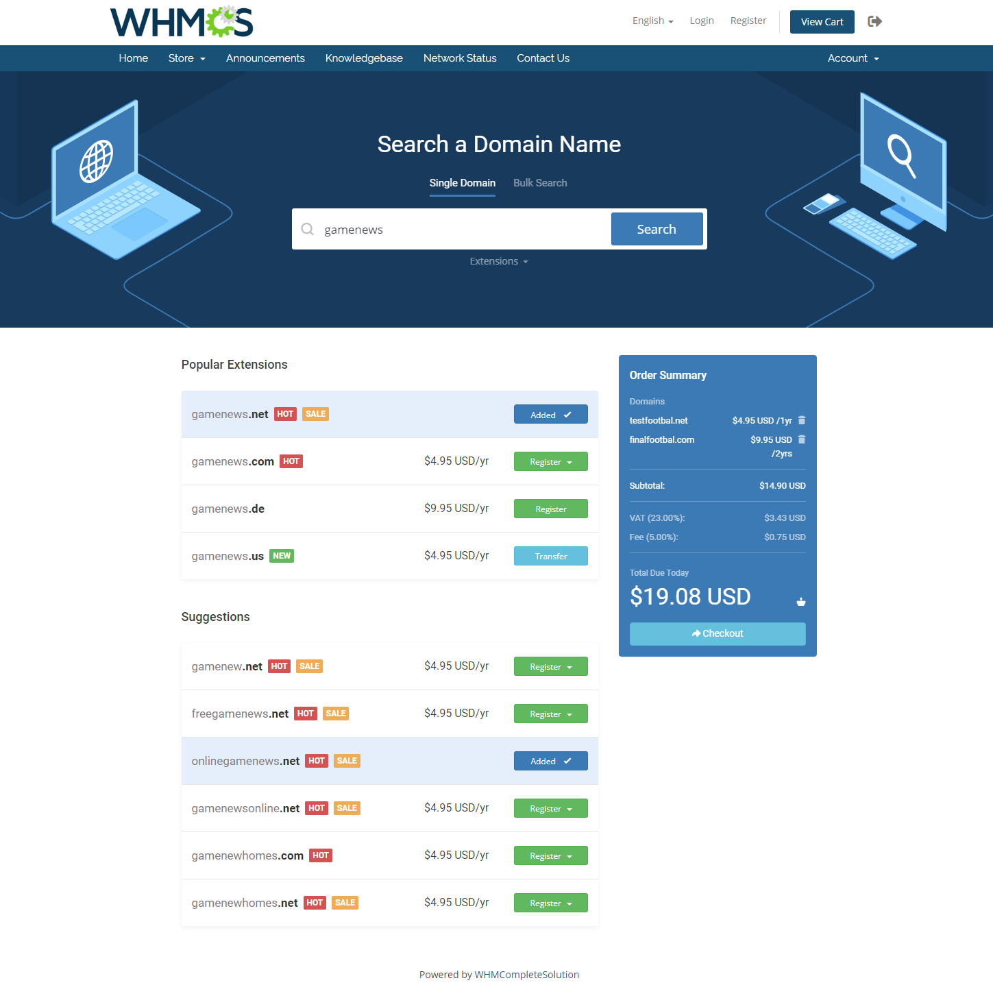 Domain Orders Extended For WHMCS: Module Screenshot 2