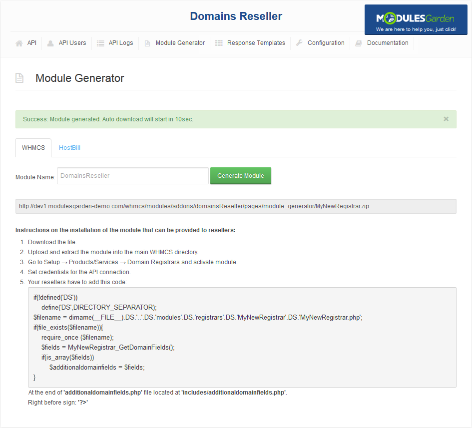 Domains Reseller For WHMCS: Screen 3