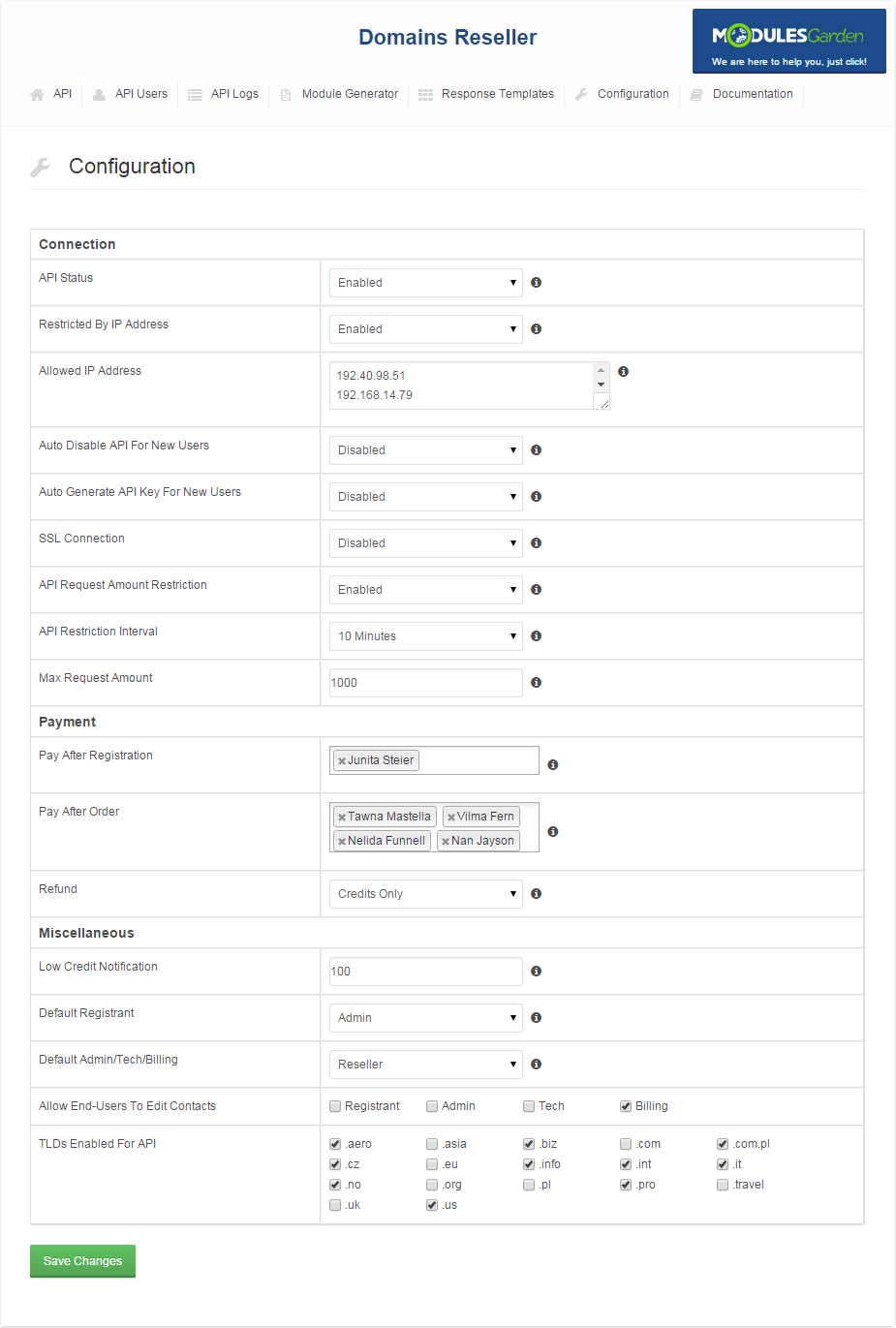 Domains Reseller For WHMCS: Screen 2