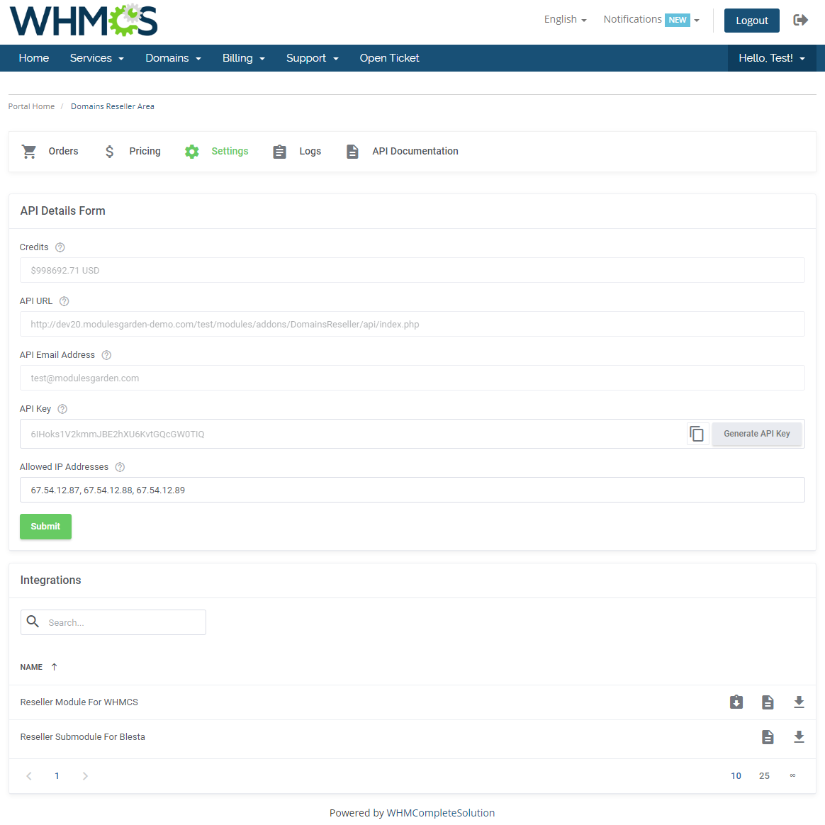Domains Reseller For WHMCS: Module Screenshot 20