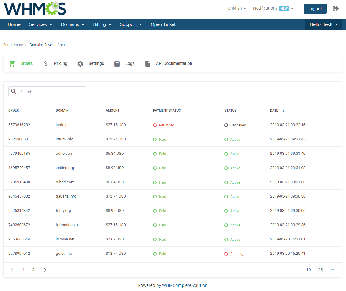 Domains Reseller For WHMCS: Module Screenshot 17
