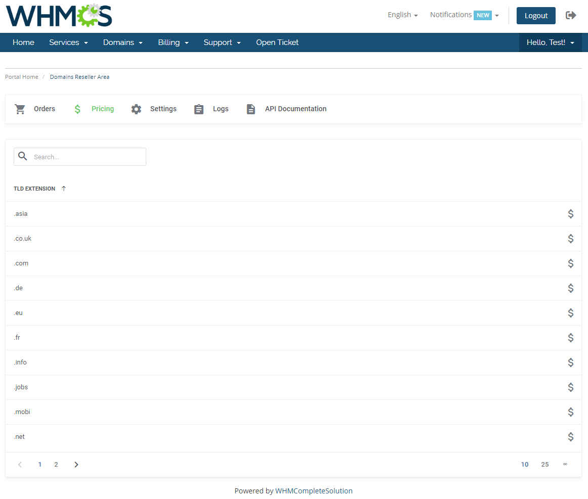 Domains Reseller For WHMCS: Module Screenshot 18