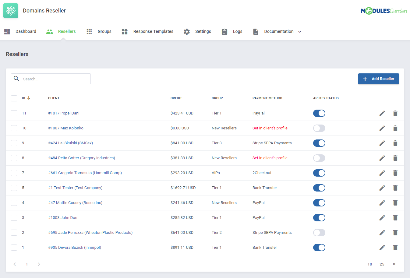 Domains Reseller For WHMCS: Module Screenshot 2