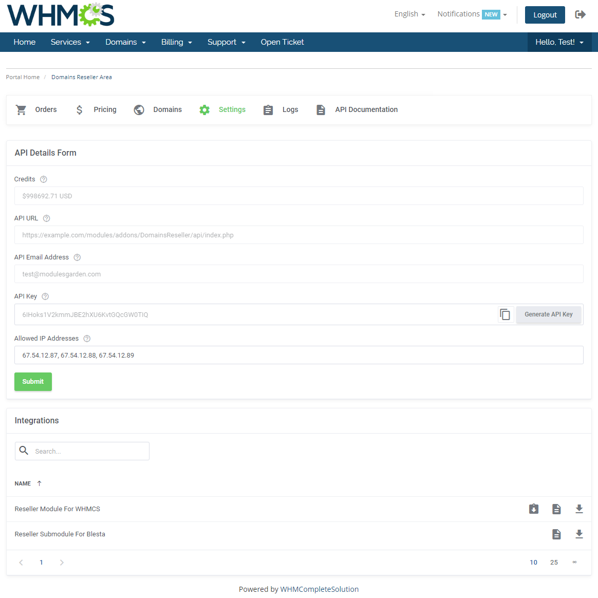 Domains Reseller For WHMCS: Module Screenshot 22