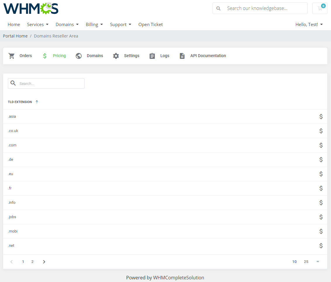 Domains Reseller For WHMCS: Module Screenshot 19