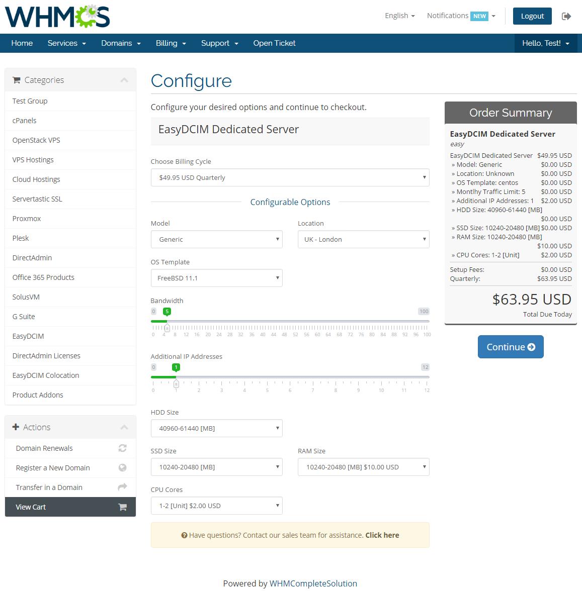 EasyDCIM Dedicated Servers For WHMCS: Module Screenshot 10