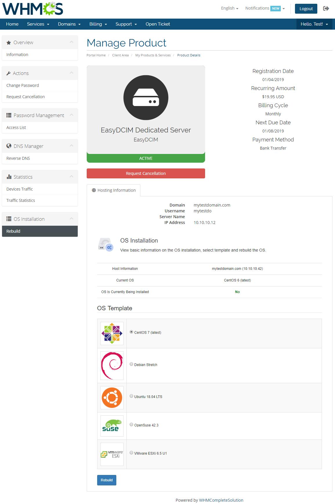 EasyDCIM Dedicated Servers For WHMCS: Module Screenshot 9