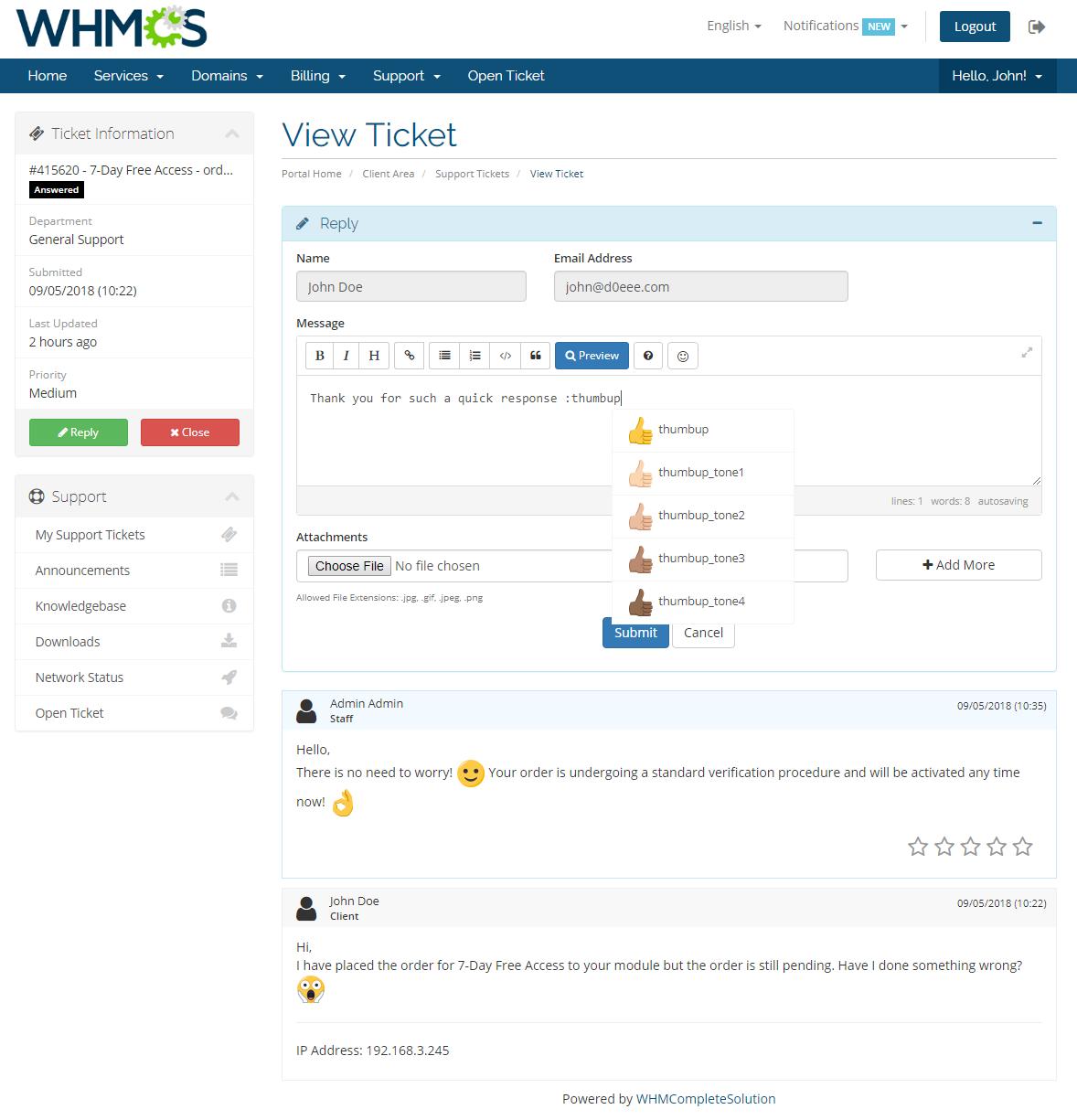 Emoji Picker For WHMCS: Screen 1