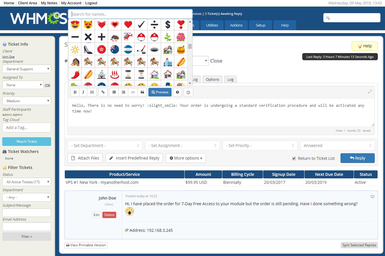 Emoji Picker For WHMCS: Screen 2