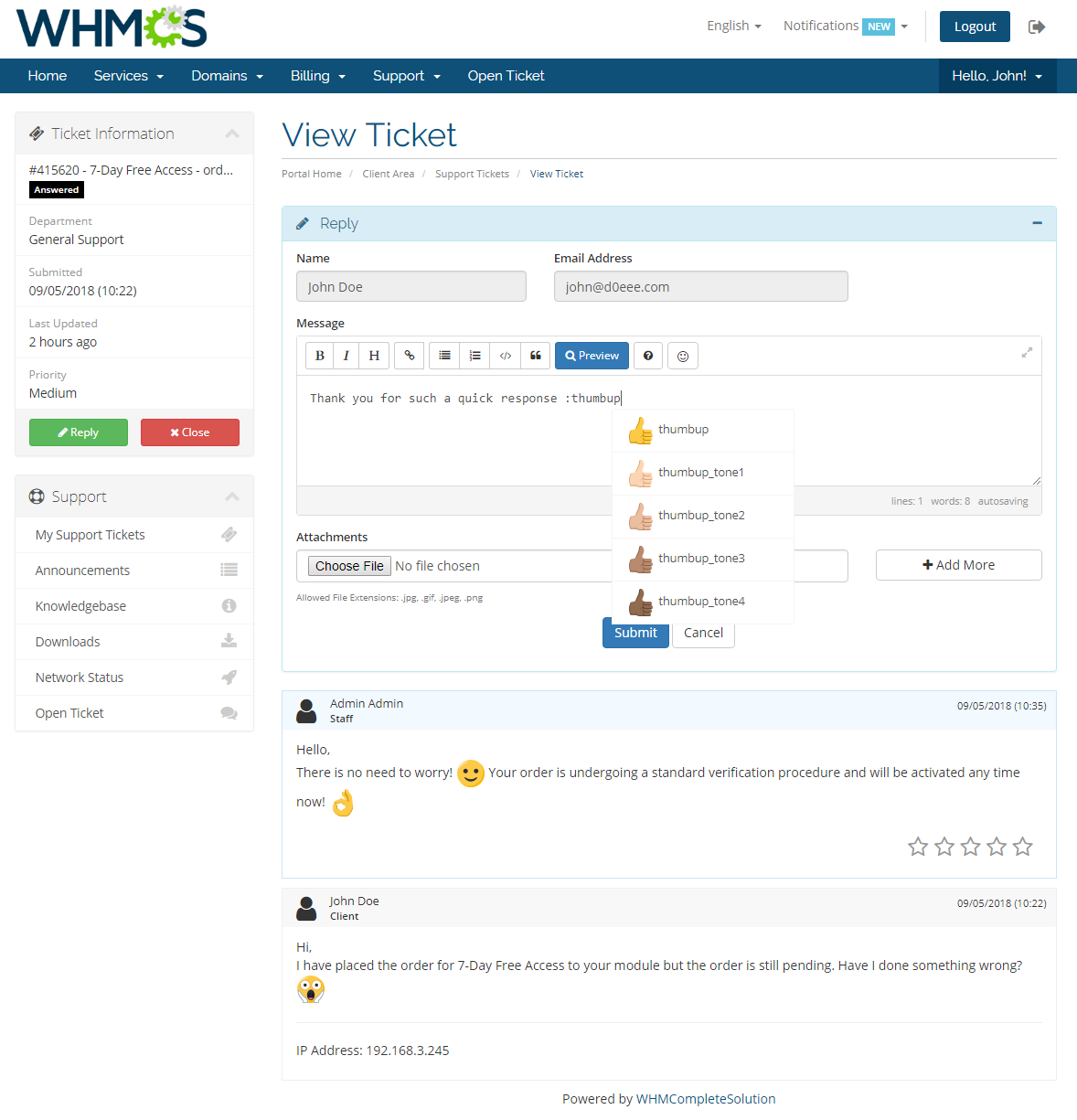 Emoji Picker For WHMCS: Screen 1