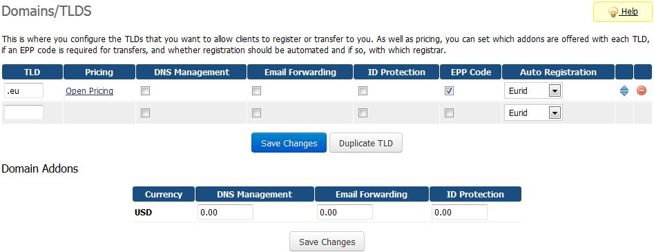 EURid Registrar For WHMCS: Screen 3