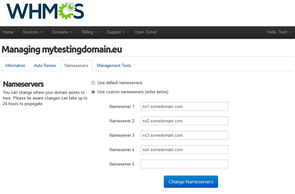 EURid Registrar For WHMCS: Screen 6